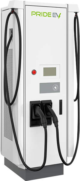 Large white Pride EV 124 charger with two black pumps