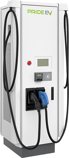 Large white Pride EV 184 charger with black left pump and blue right pump