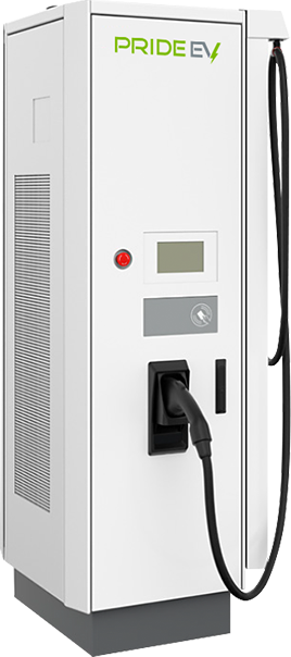 Large white Pride EV 94 charger with one black pump