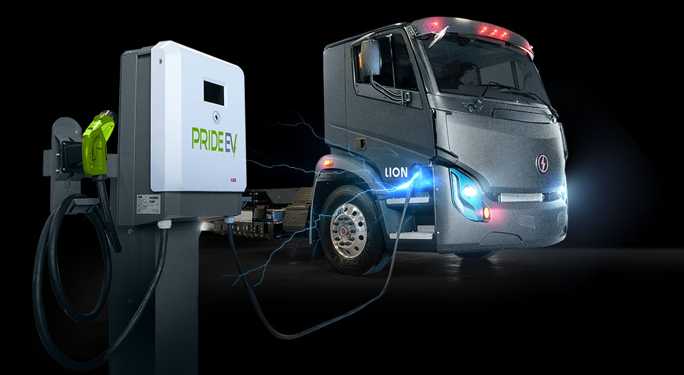 Lion Electric cab connected to Pride EV charger in front of it, with lightning bolts coming from charging port