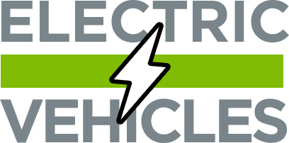 Electric Vehicles icon with both words separated by green bar with white lightning bolt in middle