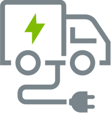 Grey outline of electric truck icon with power cord hanging from it and green lightning bolt in middle