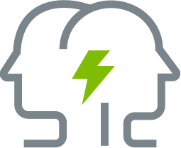 Grey outline of two overlapping heads facing opposite directions with green lightning bolt in middle