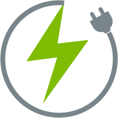 Grey outline of power cord forming a circle with green lightning bolt in middle
