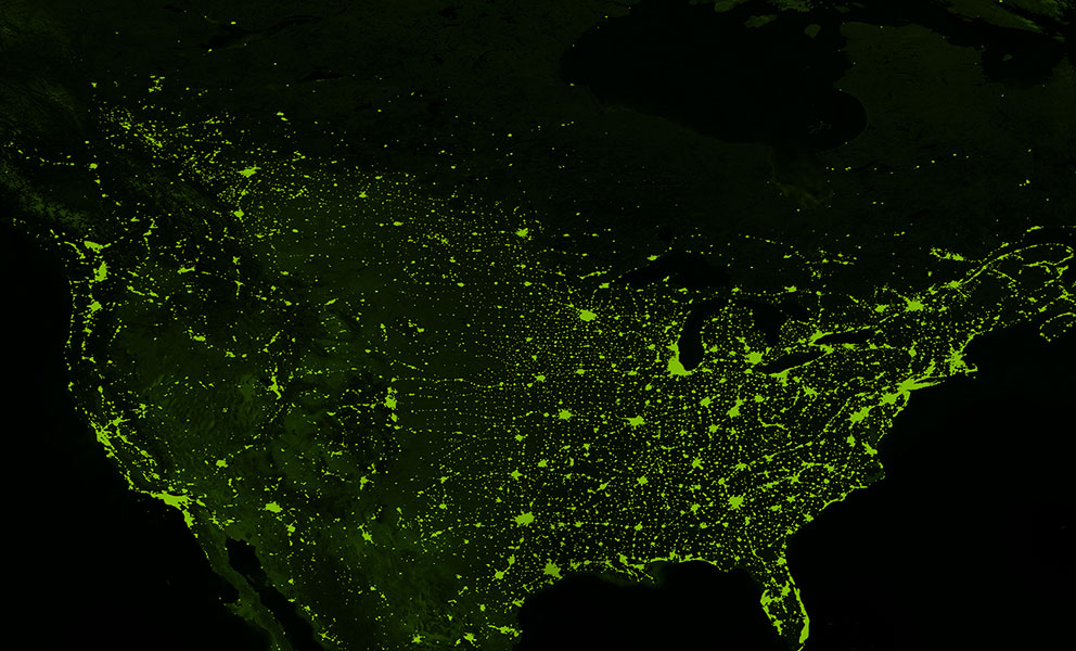 Satellite image of North America with green shading and neon green highlighting