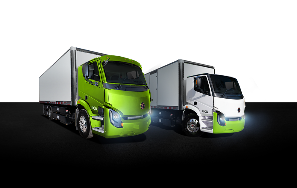 Lion Electric Company logo above Lion 6 and Lion 8 trucks side by side