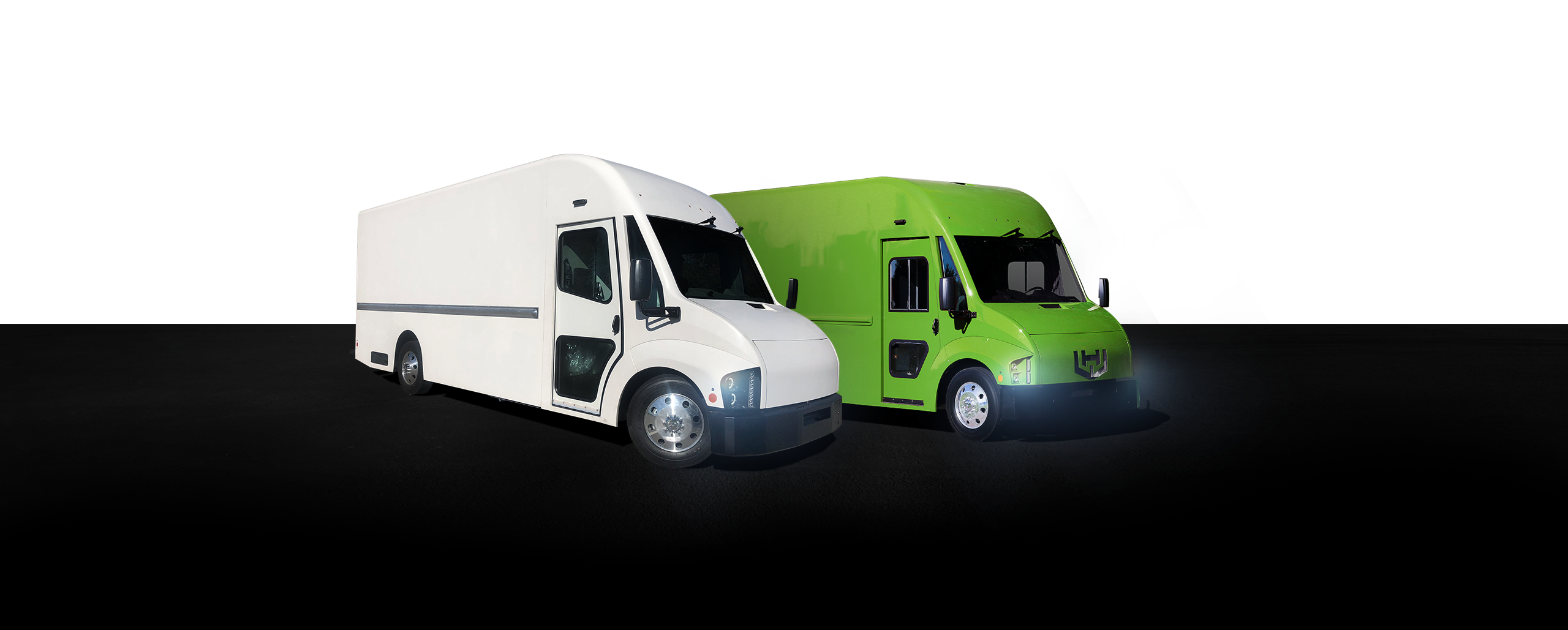 Workhorse logo above C650 & C1000 electric vans side by side