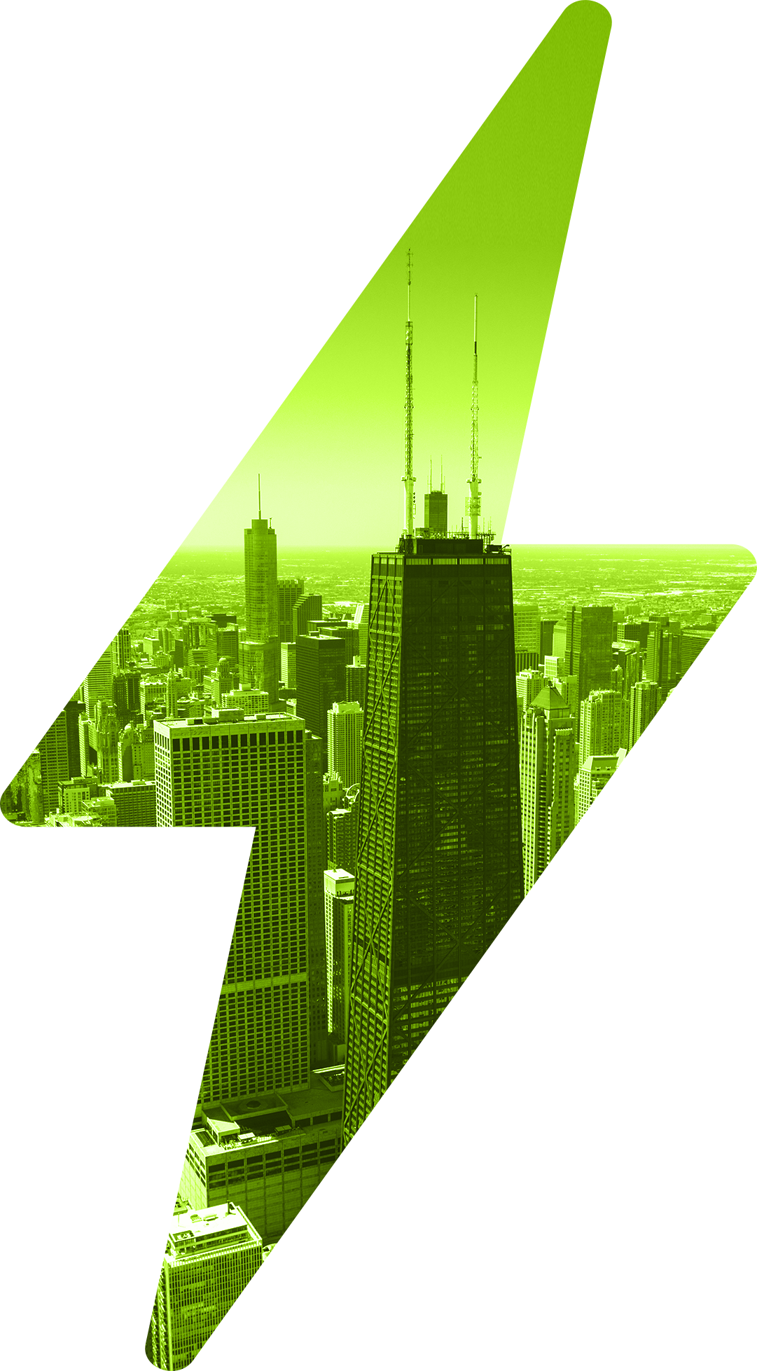 Large green lightning bolt with inset of Willis Tower skyscraper and financial buildings in Chicago, Illinois