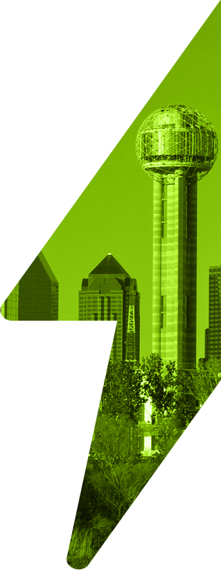 Large green lightning bolt with inset of Dallas, Texas cityscape with Reunion Tower