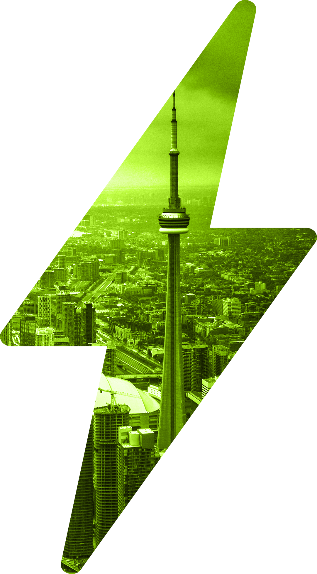 Large green lightning bolt with inset of Toronto, Ontario cityscape with CN Tower