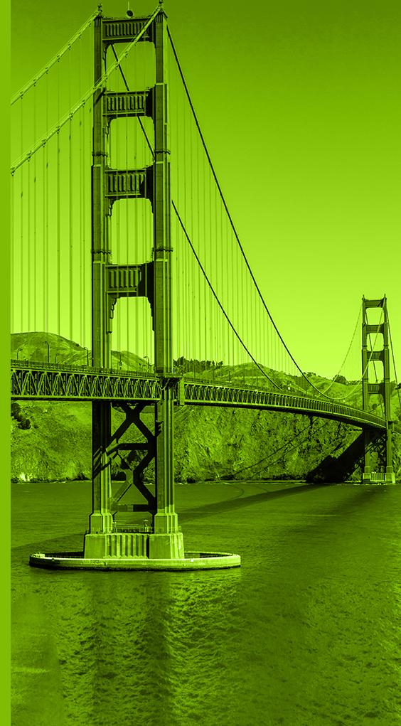 Large green lightning bolt with inset of Golden Gate Bridge in San Francisco, California