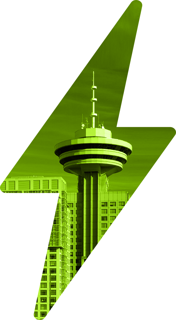 Large green lightning bolt with inset of Harbour Centre Tower in Vancouver, British Columbia