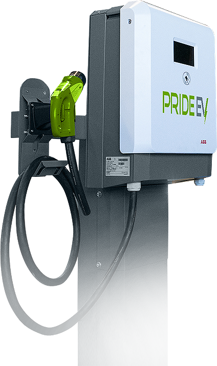 Pride EV electric vehicle charger with green nozzle