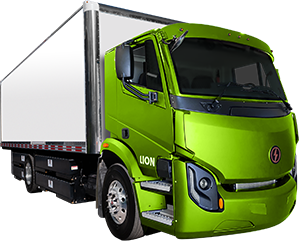 Lion 6 electric truck with green cab and white trailer