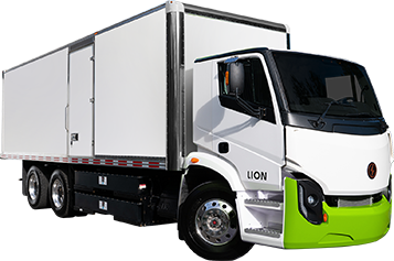 Lion 8 electric truck with green and white cab and white trailer with side door
