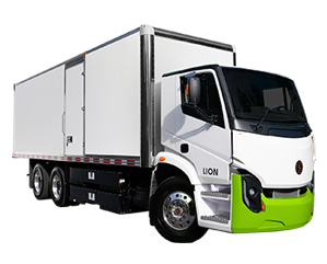 Lion Electric Company Lion 8 truck with green and white cab and white trailer