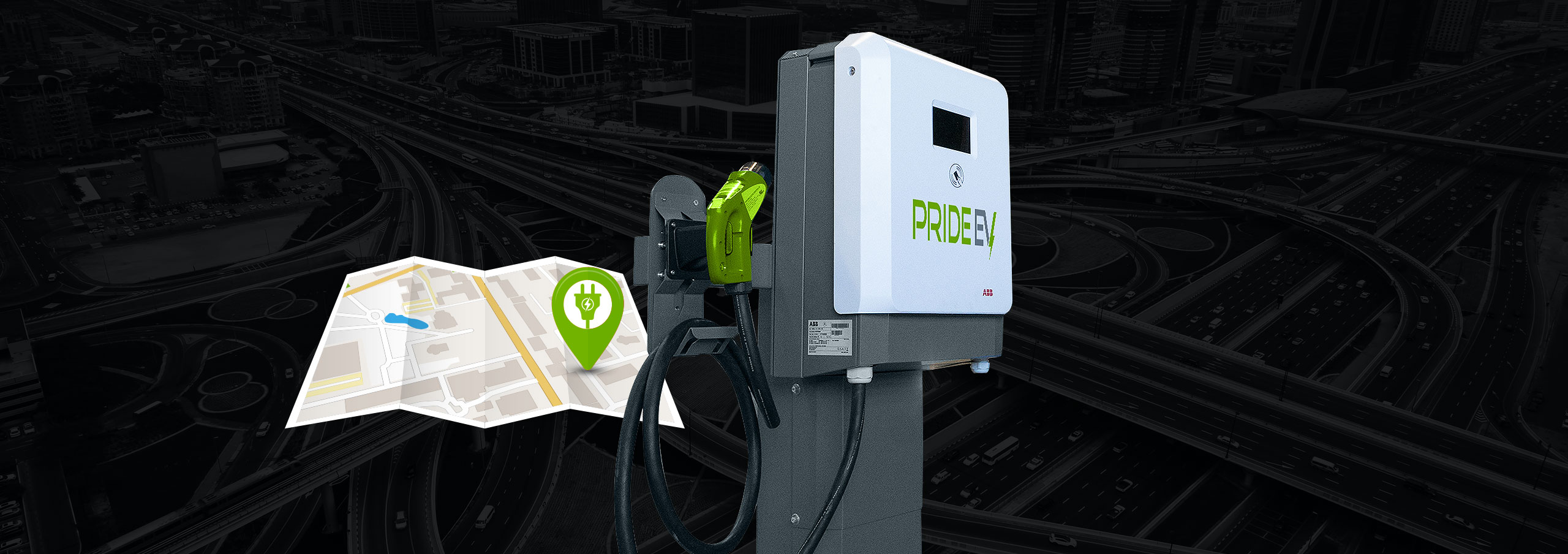 Map with charger location pin beside Pride EV charging equipment